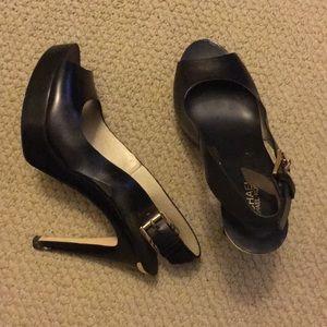 Black sling back sandal